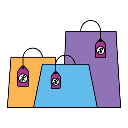 online shopping ecommerce bags tag prices offer vector illustration