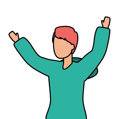 happy man celebrating arms up vector illustration Standard-Bild - 129529226