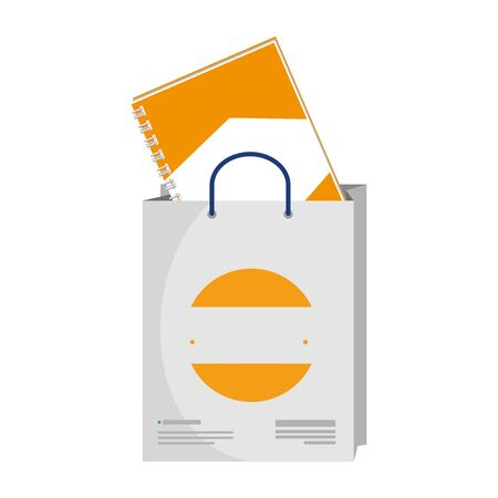 shopping bag and notebook with company emblem vector illustration design Stock Illustratie