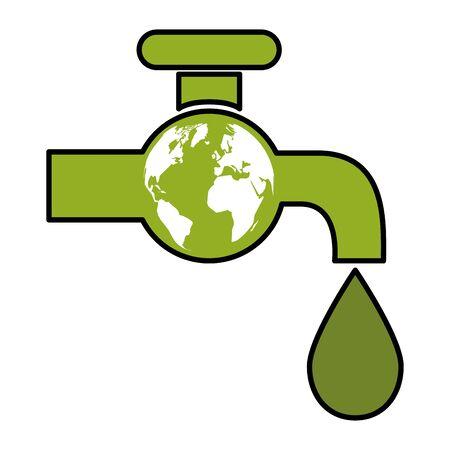 grüne Wasserhahn Tropfen Wasser Welt umweltfreundliche Umwelt Vektor-Illustration Vektorgrafik