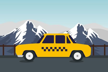 taxi card trevel transport in the snowy mountains vector illustration