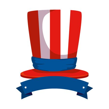 tophat with united states of america flag and ribbon vector illustration design