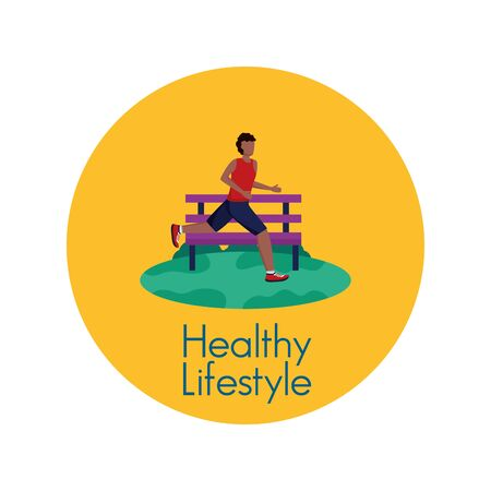 Avatar man and healthy lifestyle design, Fitness bodybuilding bodycare activity exercise and diet theme Vector illustration