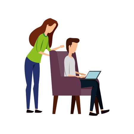 elegant business couple with laptop in sofa vector illustration design