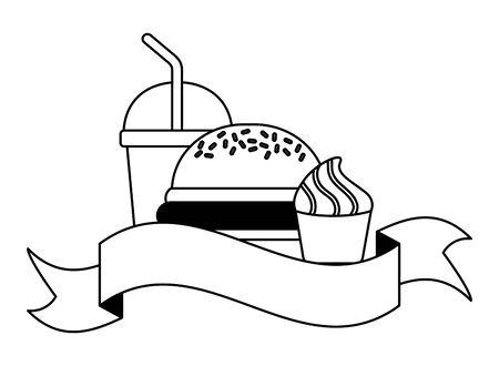 fast food burger soda ice cream vector illustration