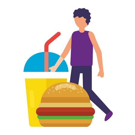 man with burger and cup soda vector illustration