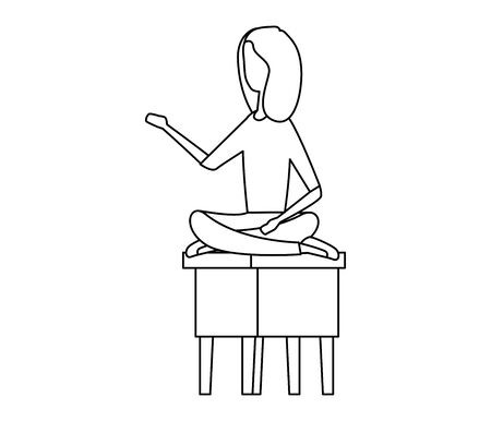 businesswoman seated in bench with lotus position vector illustration design Çizim