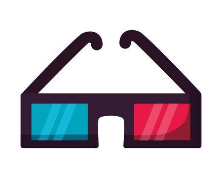 3d glasses film cinema movie vector illustration Illustration