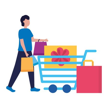 man cart gift box shopping bag commerce vector illustration Illustration
