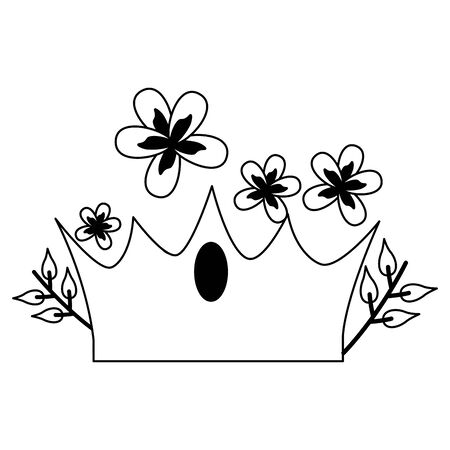 crown luxury flowers on white background vector illustration  イラスト・ベクター素材