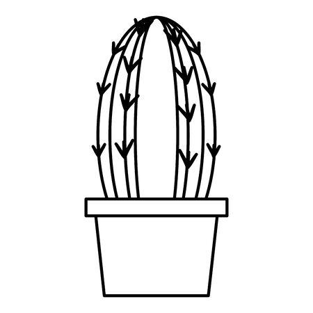 cactus in pot tools decoration gardening flat design vector illustration