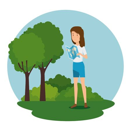 woman with global map and trees with bushes vector illustration