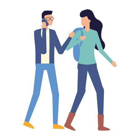 man using smartphone and woman with bag vector illustration Illustration