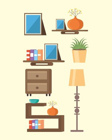 pictures lamp stands with books plant vector illustration Ilustracja