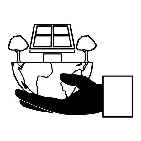 hand holding world solar panel trees eco friendly environment vector illustration  イラスト・ベクター素材