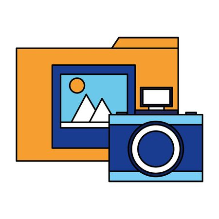 folder file photo camera on white background vector illustration 向量圖像