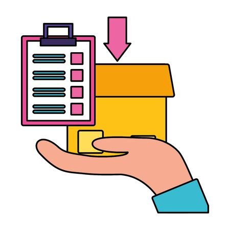hand with box clipboard fast delivery logistic vector illustration