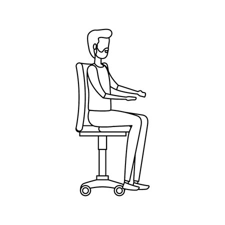 elegant businessman worker seated in office chair vector illustration design Illusztráció