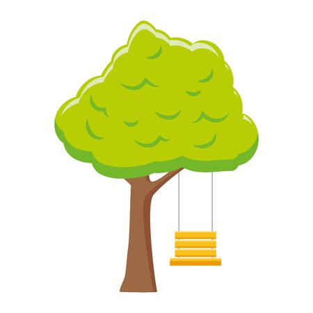 tree with swing on white background vector illustration