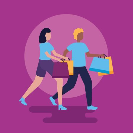 boy and girl holding shopping bags vector illustration Çizim