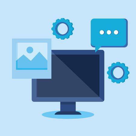 computer technology with photo and chat bubble over blue background, vector illustration
