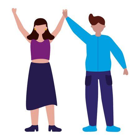 vieren man en vrouw tekens vector illustratie vector Vector Illustratie