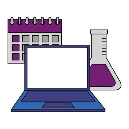 back to school laptop test tube calendar vector illustration