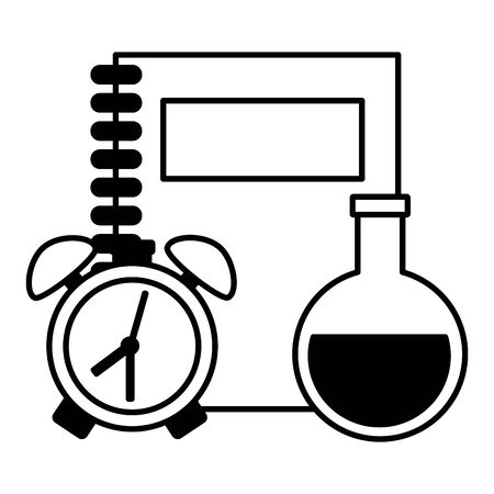 book chemistry flask and clock back to school vector illustration