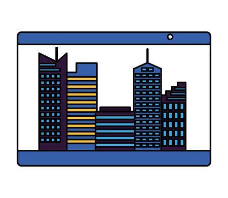 smartphone smart city connection online services vector illustration