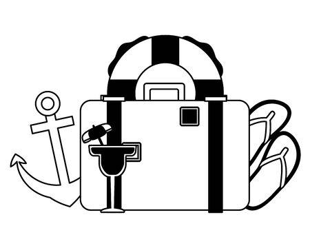 summer time holiday suitcase lifebuoy anchor cocktail flip flops vector illustration