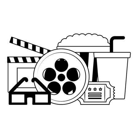 calpbpard ticket glasses pop corn soda film cinema design vector illustration Standard-Bild - 129546780