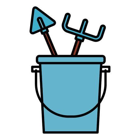 bucket rake shovel tools gardening flat design vector illustration Ilustrace