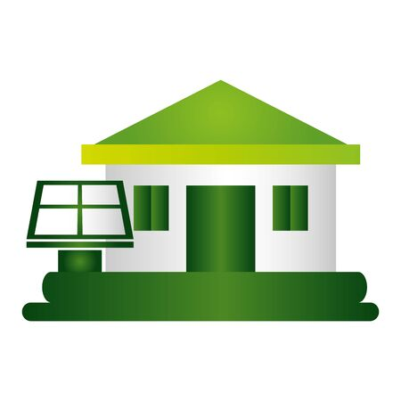 house solar panel eco friendly environment vector illustration Archivio Fotografico - 129546918