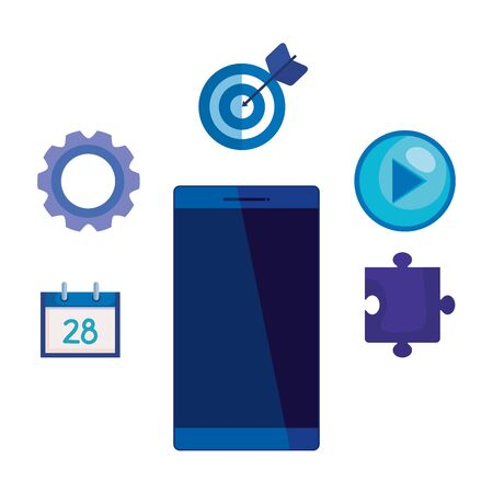 smartphone device with social media marketing icons vector illustration design  イラスト・ベクター素材