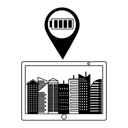 mobile smart city battery energy online services vector illustration