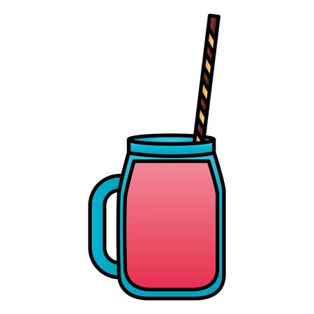 juice with straw on white background vector illustration
