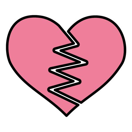 heart broken romance white background vector illustration
