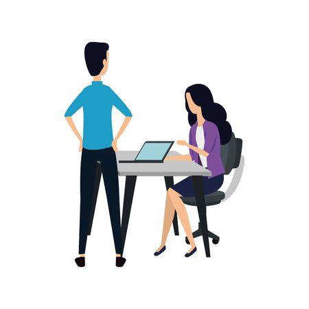 elegant business couple working with laptop vector illustration design Çizim