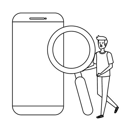 young man with smartphone and magnifying glass vector illustration design