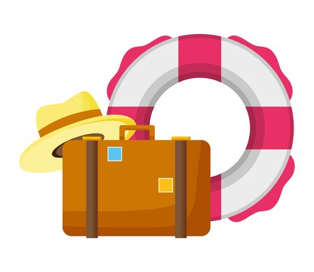 summer time lifebuoy suitcase and hat vector illustration