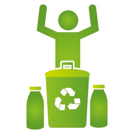 man bin bottles recycle eco friendly environment vector illustration Illustration