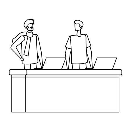 men working in desk with computers vector illustration design Çizim