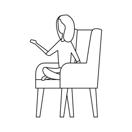 elegant businesswoman worker in the sofa vector illustration design