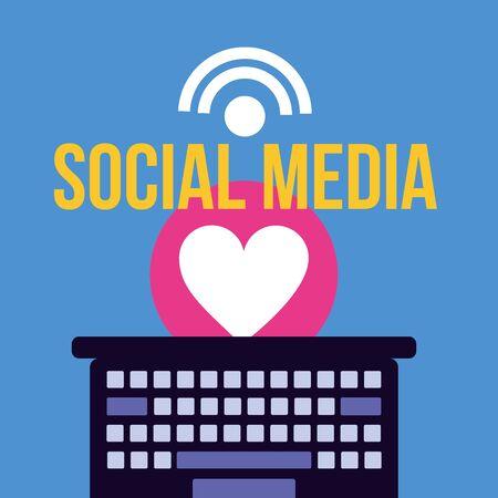 Social media and multimedia icon set, Apps communication and digital marketing theme Colorful design Vector illustration Çizim
