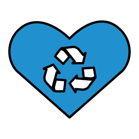heart love recycle eco friendly environment vector illustration Illustration