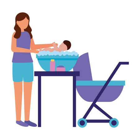 mother washing her baby in soapy water pregnancy and maternity vector illustration Foto de archivo - 129546751