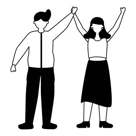 vieren man en vrouw tekens vector illustratie wit en zwart