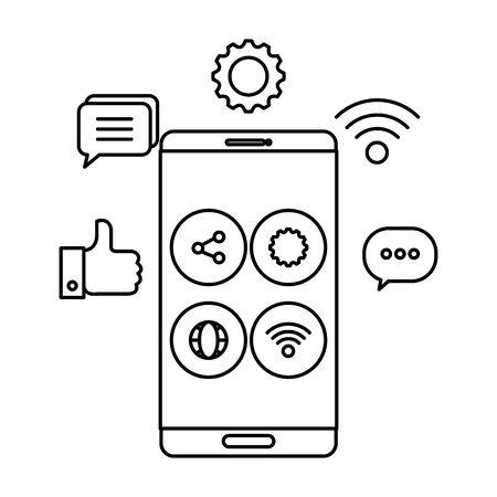 smartphone device with social media menu vector illustration design Illusztráció
