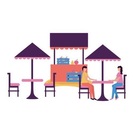 couple sitting chairs table umbrella store activity outdoors vector illustration
