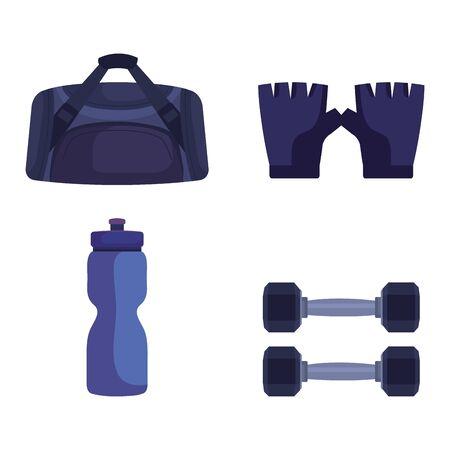 set bag with gloves and water bottle with dumbbells over white background, vector illustration Illustration